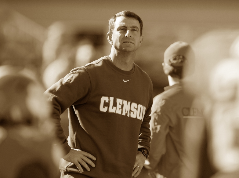 CLEMSON, SC - NOVEMBER 29: Head Coach Dabo Swinney of the Clemson Tigers looks on prior to their game against the South Carolina Gamecocks at Memorial Stadium on November 29, 2014 in Clemson, South Carolina. (Photo by Tyler Smith/Getty Images)
